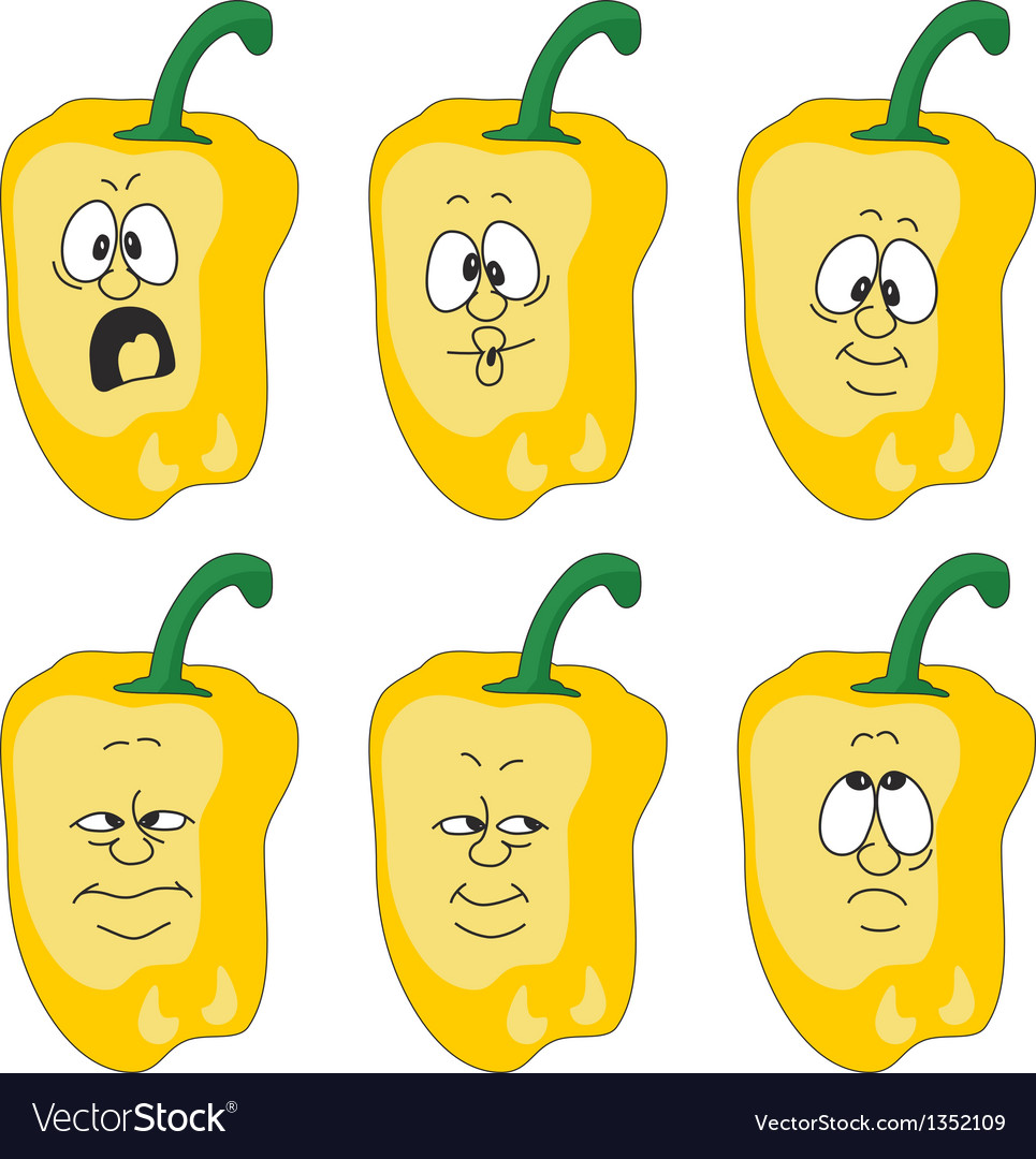 Emotion cartoon yellow pepper vegetables set 003 vector | Price: 1 Credit (USD $1)
