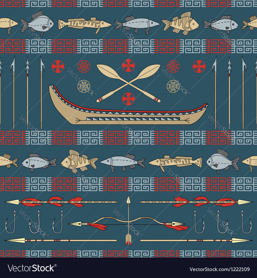 Indian fishing - seamless pattern vector | Price: 1 Credit (USD $1)