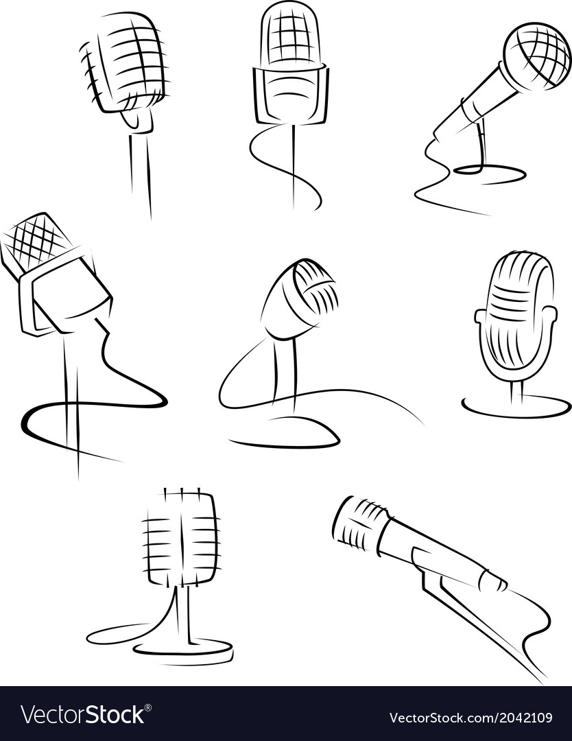 Isolated microphones vector | Price: 1 Credit (USD $1)