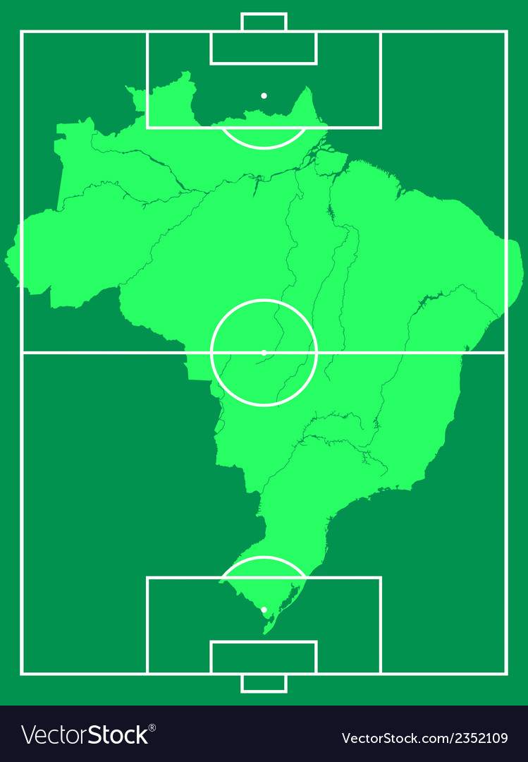 Map of brazil on soccer field vector | Price: 1 Credit (USD $1)