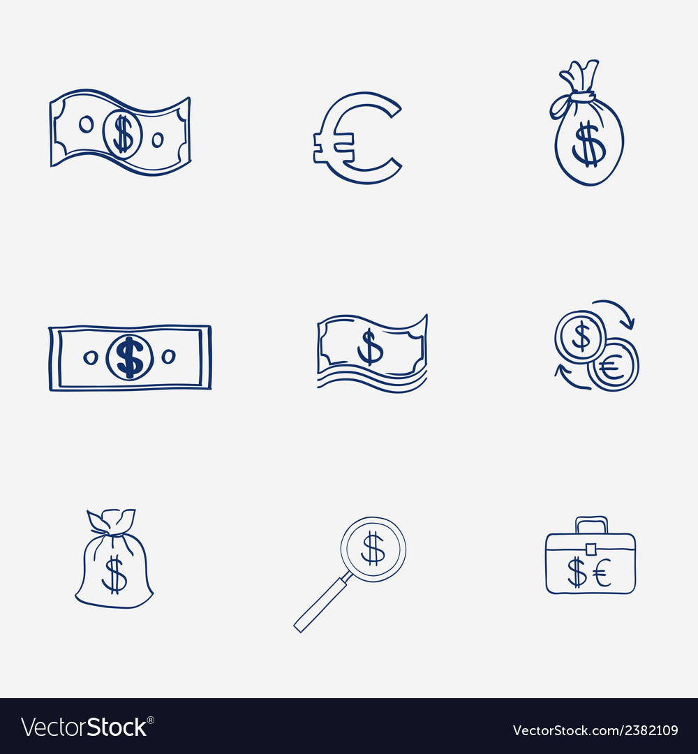 Money icons set doodle sketch hand draw finanse vector | Price: 1 Credit (USD $1)