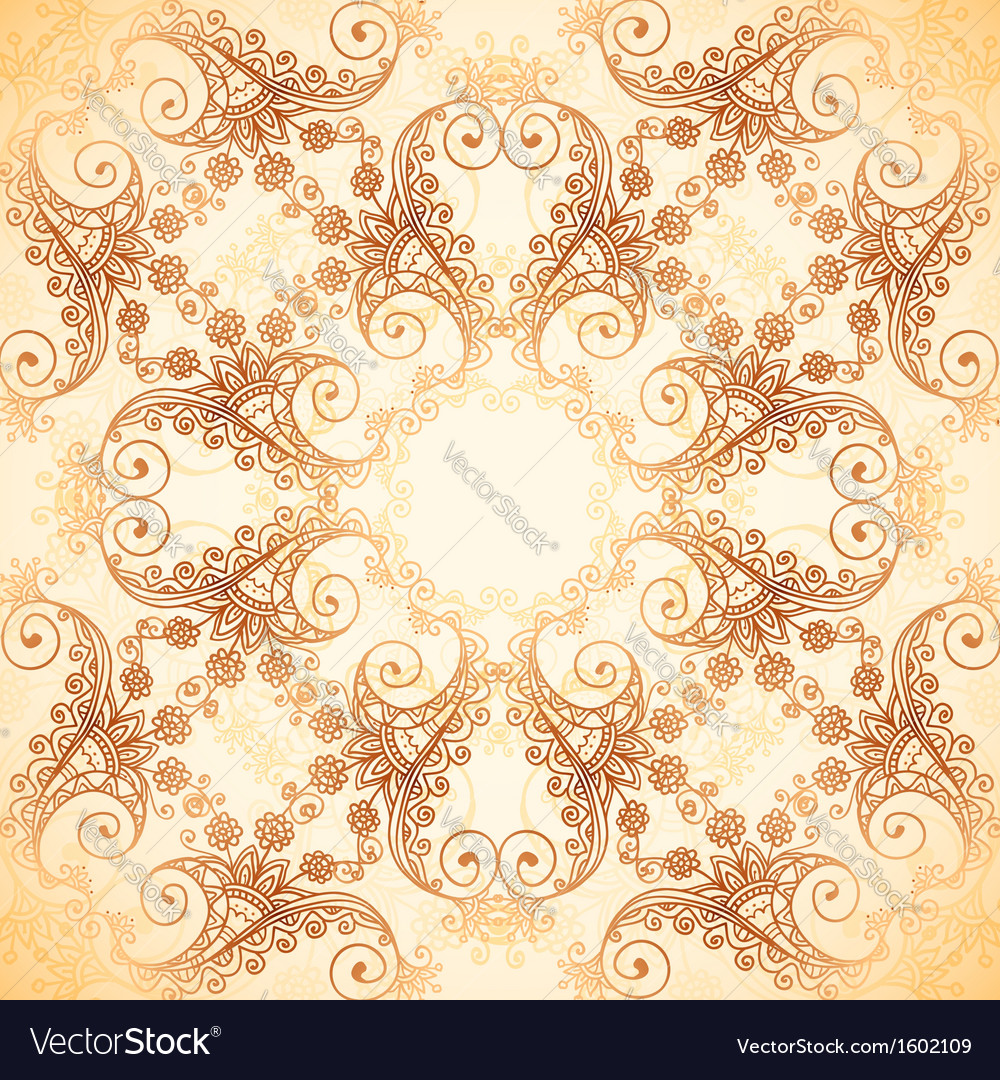 Ornate vintage pattern in mehndi style vector | Price: 1 Credit (USD $1)
