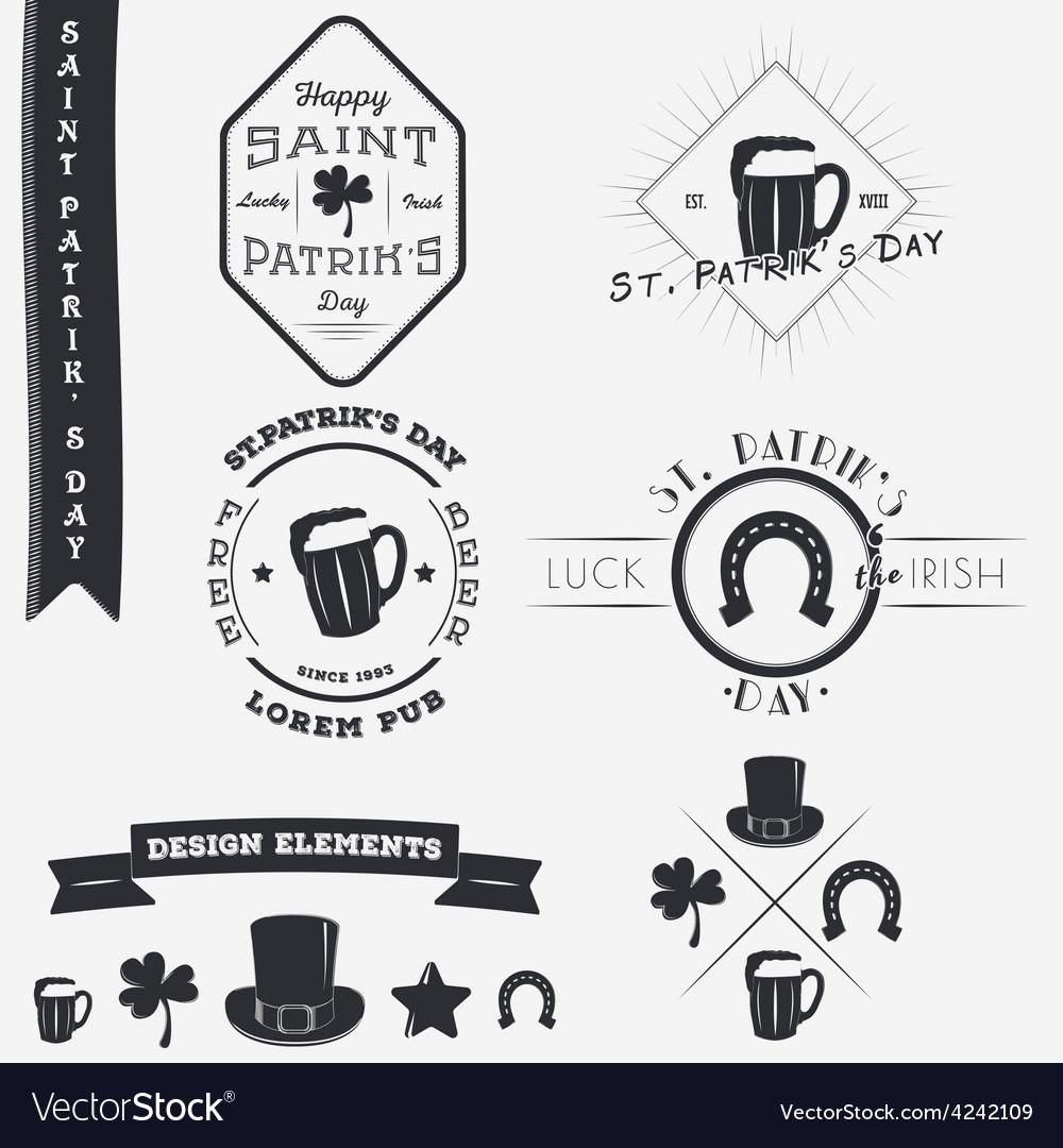 Saint patricks day set of typographic badges vector | Price: 1 Credit (USD $1)