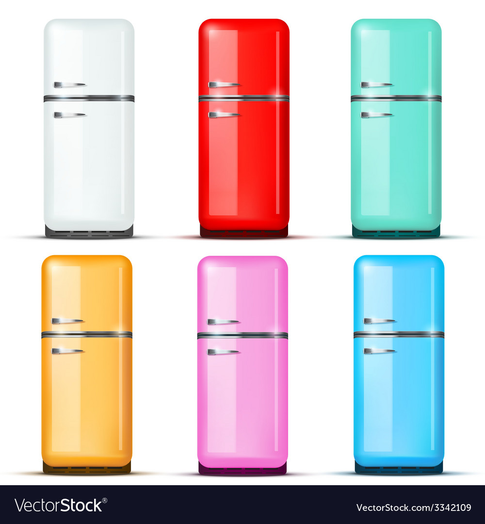 Set of fridge refrigerator isolated on white vector | Price: 1 Credit (USD $1)