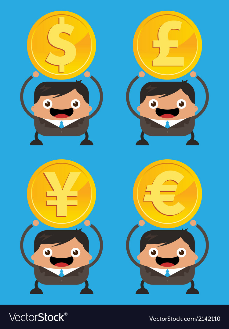Business men holding currency gold coins vector | Price: 1 Credit (USD $1)