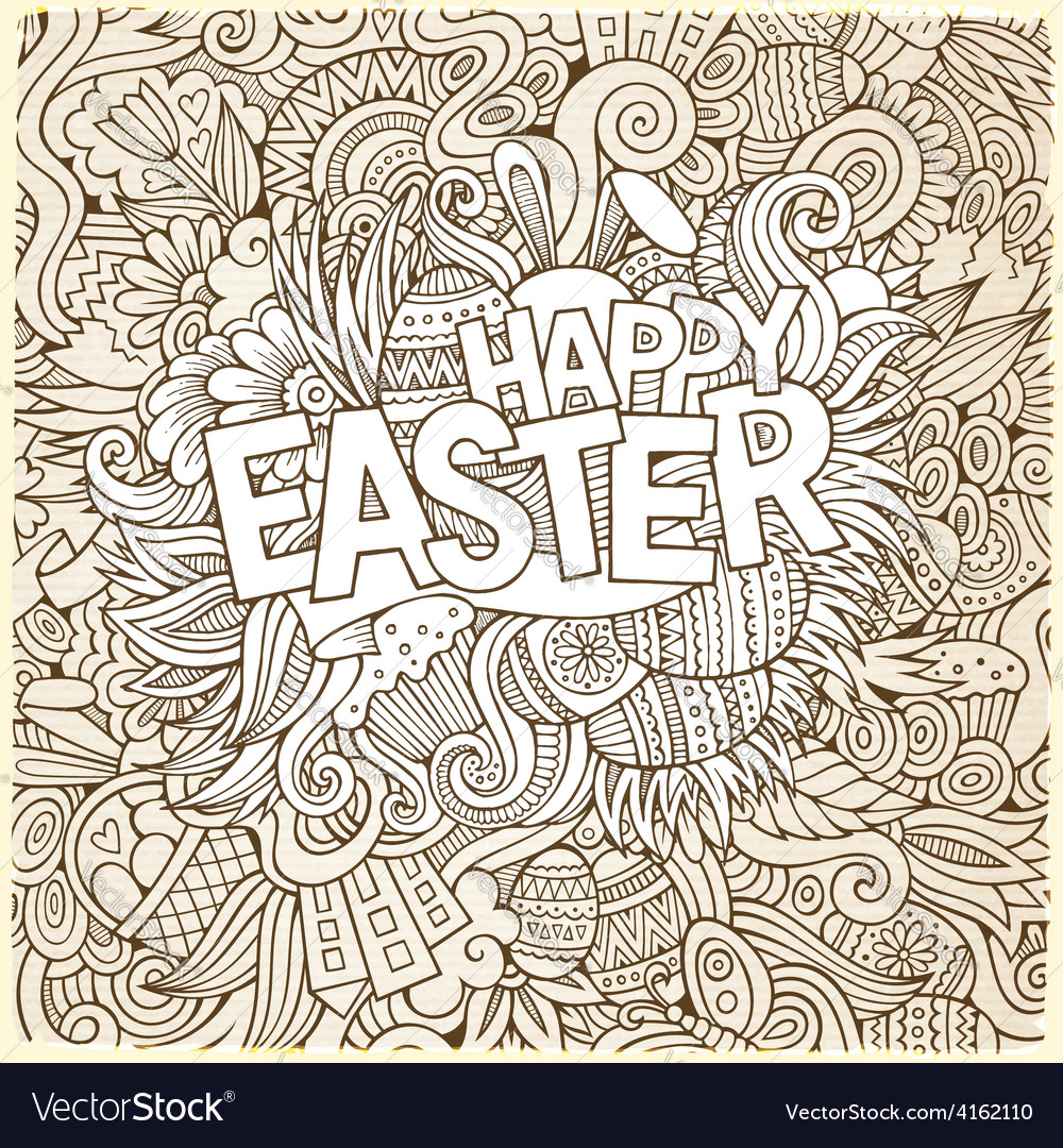 Easter hand lettering and doodles elements vector | Price: 1 Credit (USD $1)
