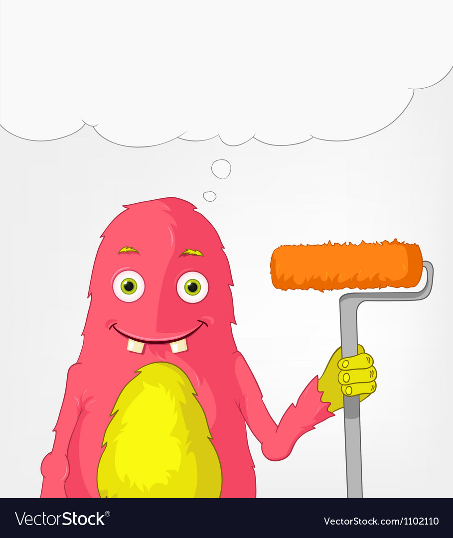 Funny monster painter vector | Price: 3 Credit (USD $3)