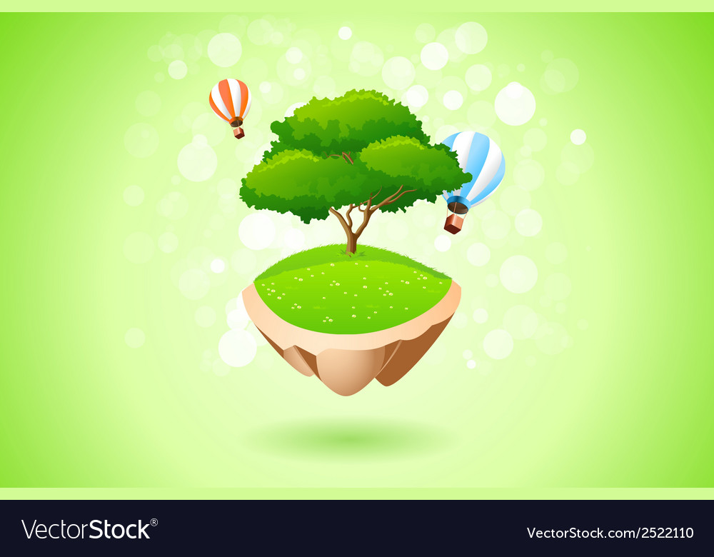 Green lonely tree vector | Price: 1 Credit (USD $1)