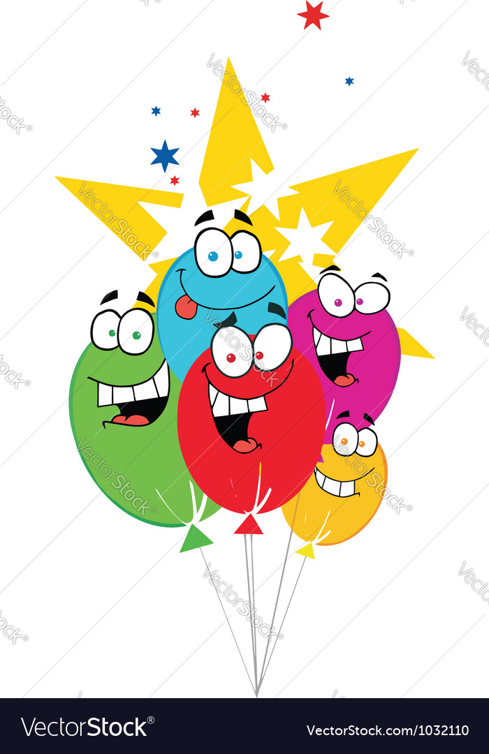 Happy birthday baloons with stars vector   Price: 1 Credit (USD $1)