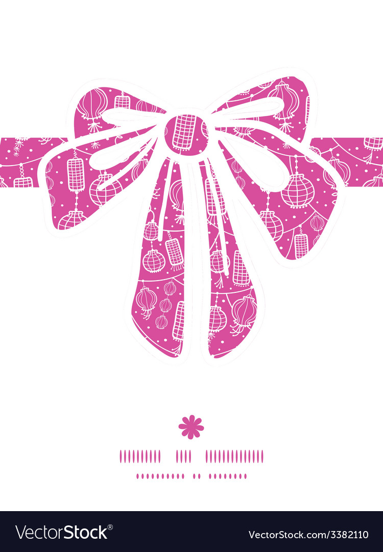 Holiday lanterns line art gift bow silhouette vector | Price: 1 Credit (USD $1)