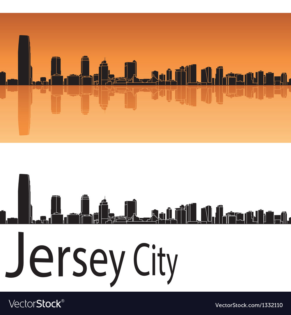 Jersey city skyline in orange background vector | Price: 1 Credit (USD $1)