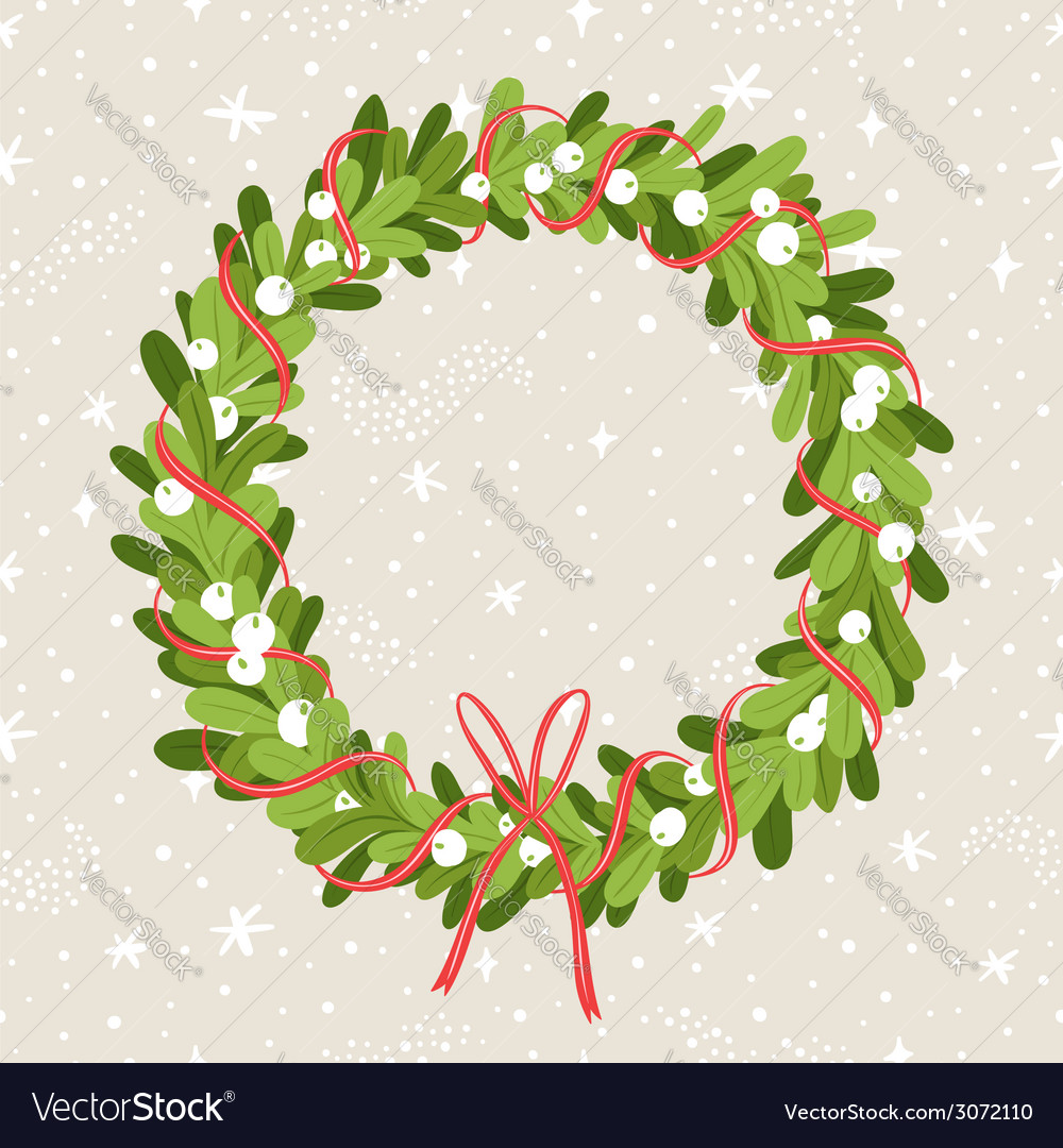 Mistletoe wreath vector