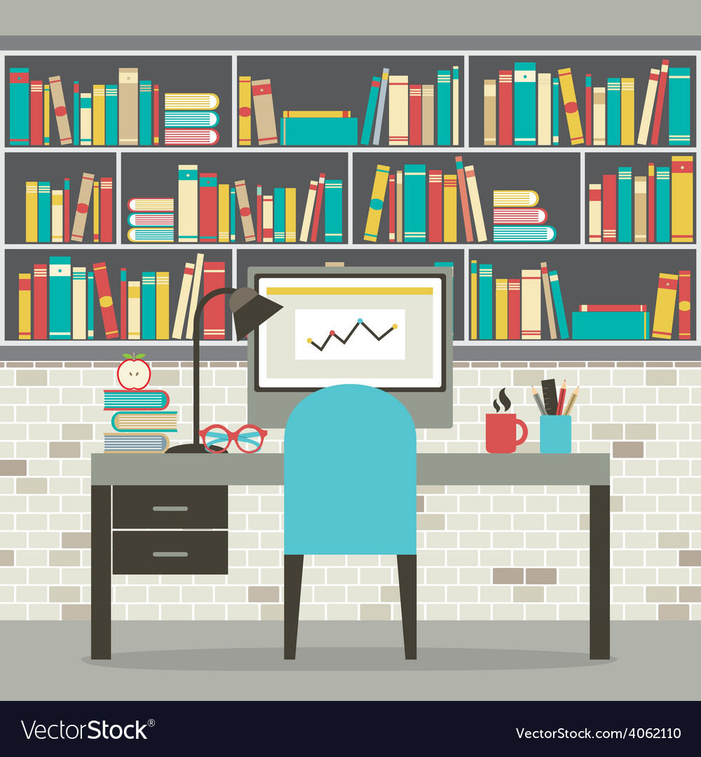 Modern flat design workplace with bookcase vector | Price: 1 Credit (USD $1)