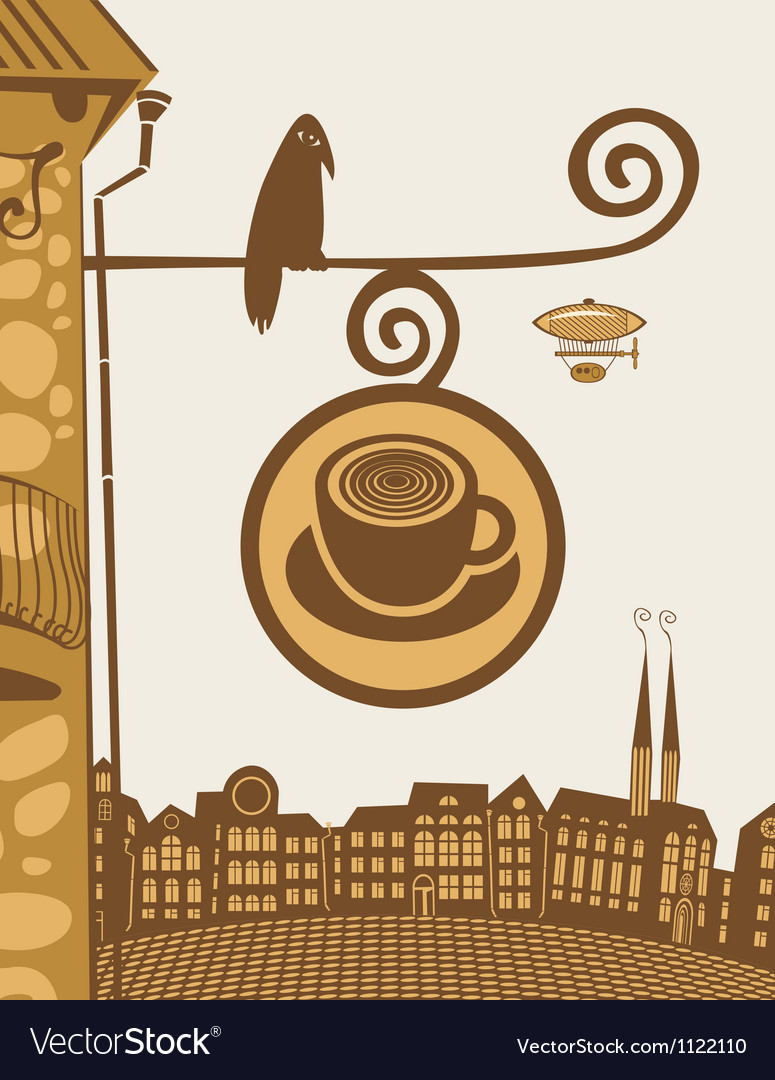 Raven cafe vector | Price: 1 Credit (USD $1)