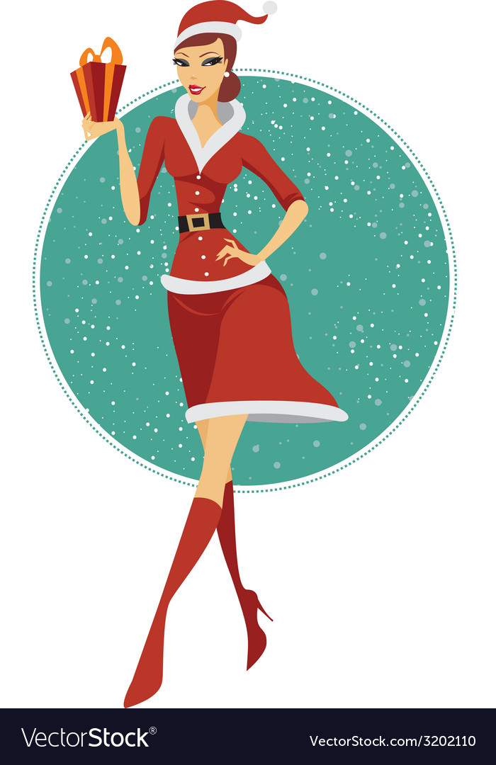 Sexy girl santa vector | Price: 1 Credit (USD $1)