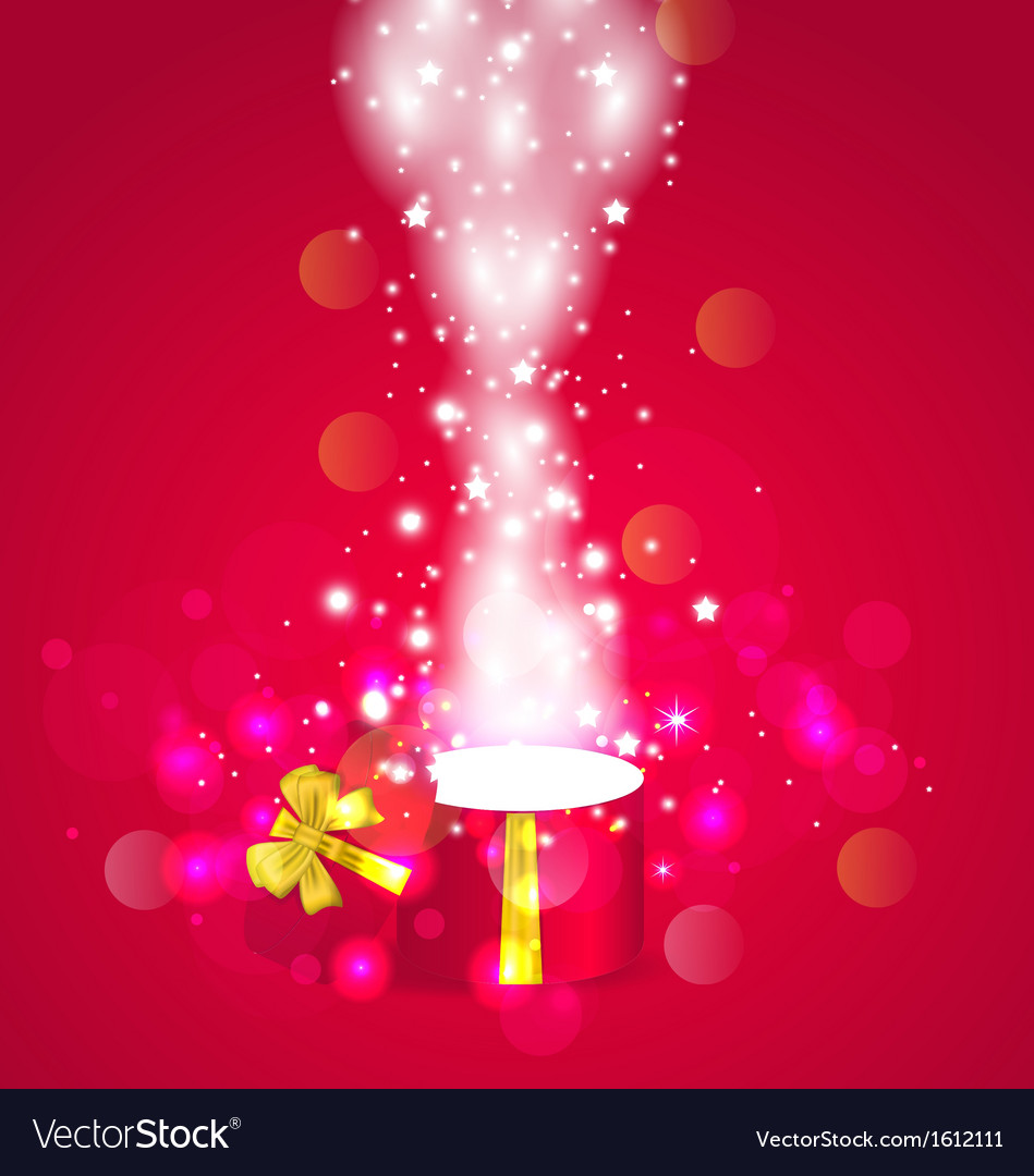 Christmas background with open magic gift box vector | Price: 1 Credit (USD $1)