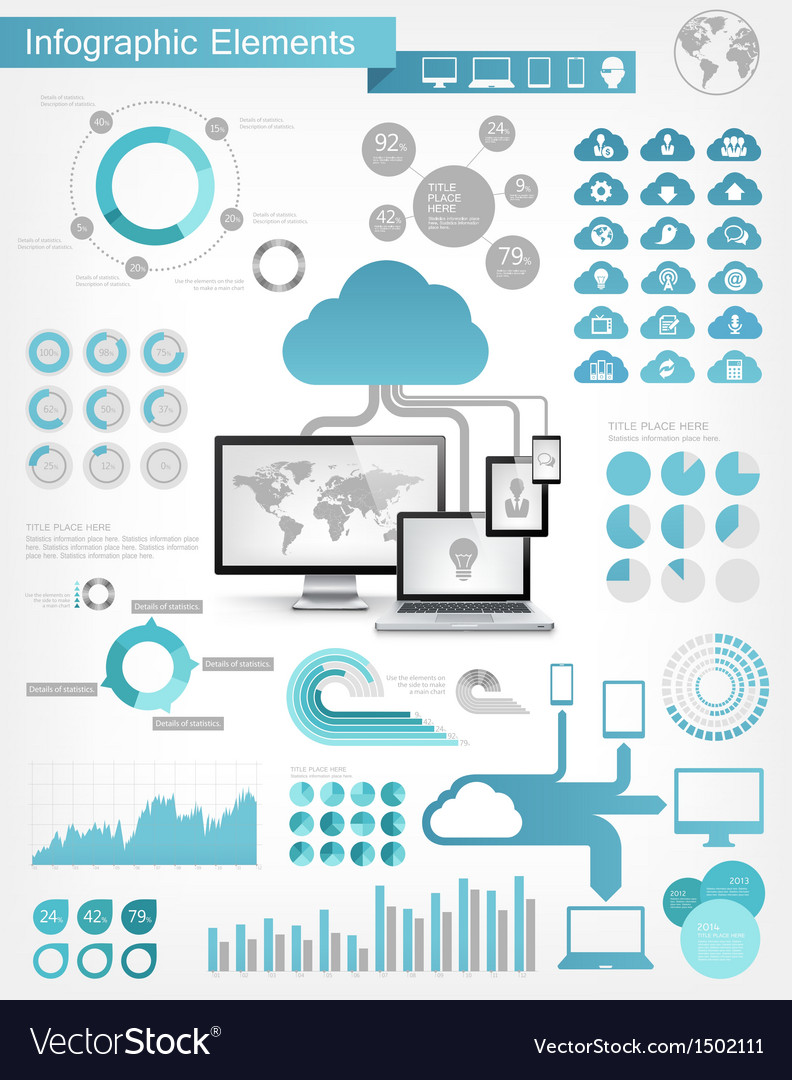 Cloud service infographic elements vector | Price: 3 Credit (USD $3)