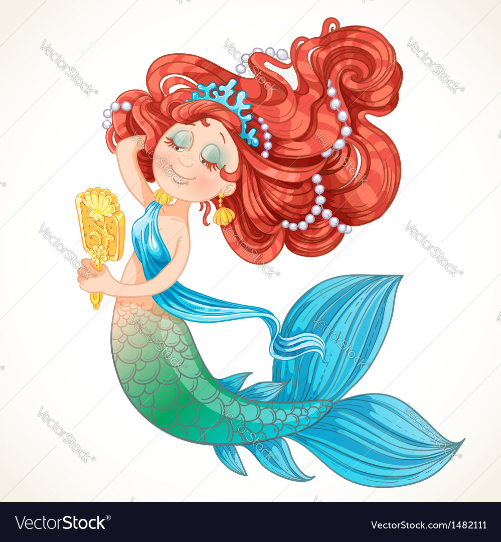 Cute mermaid girl before the mirror vector | Price: 3 Credit (USD $3)
