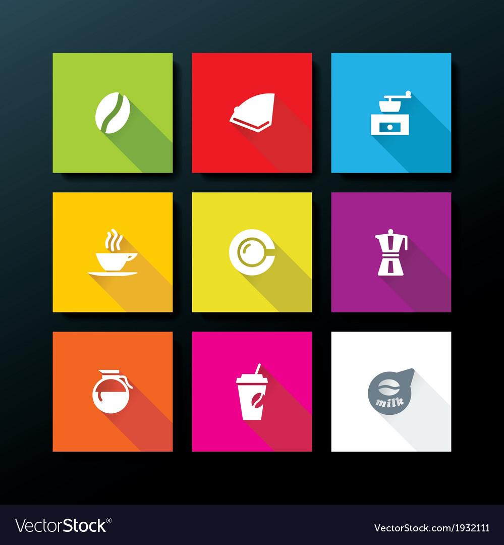 Flat coffee icon set vector | Price: 1 Credit (USD $1)