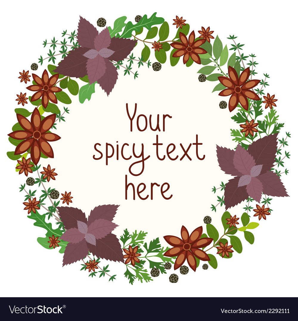 Herbs and spices circular wreath vector | Price: 1 Credit (USD $1)