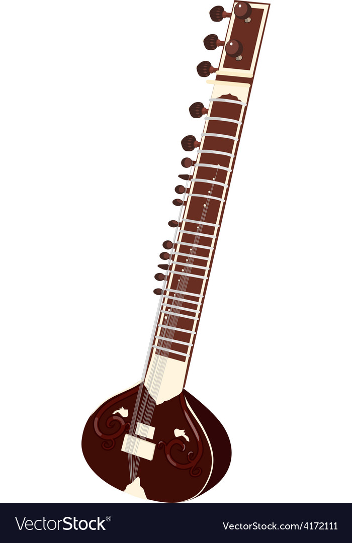 Indian musical instruments - sitar vector | Price: 1 Credit (USD $1)