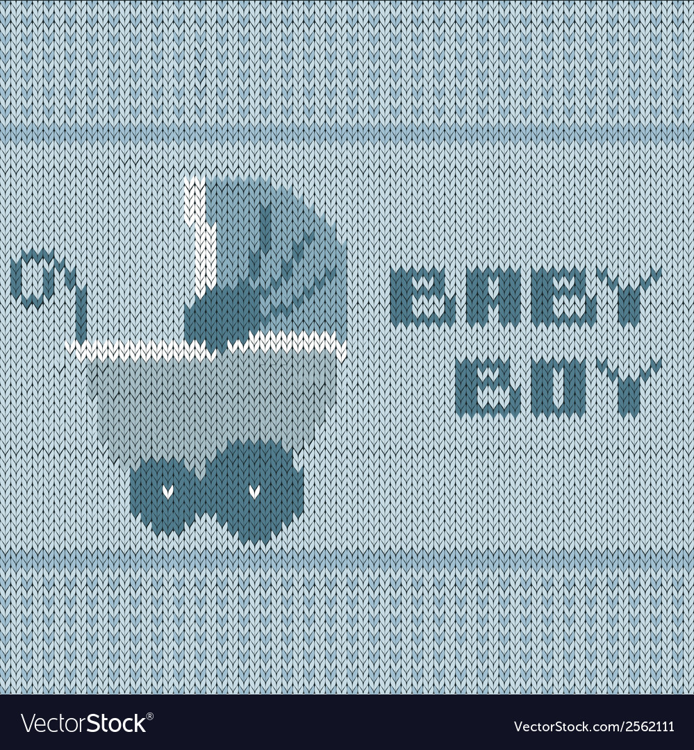 Knitted baby boy shower announcement card vector | Price: 1 Credit (USD $1)
