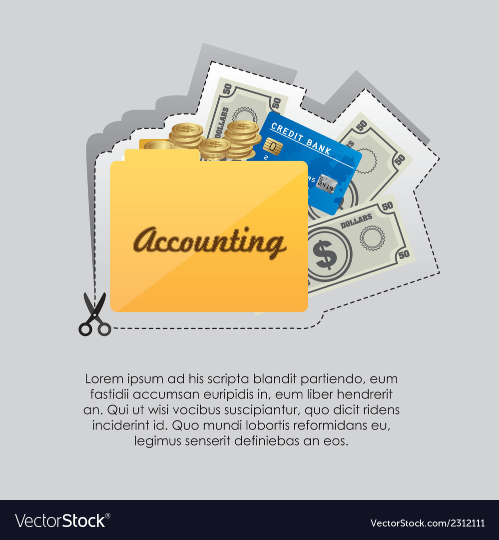 Label with cut lines and an icon of accounting vector | Price: 1 Credit (USD $1)