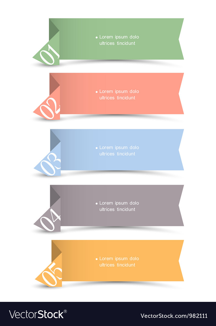 Origami paper numbered banners vector | Price: 1 Credit (USD $1)