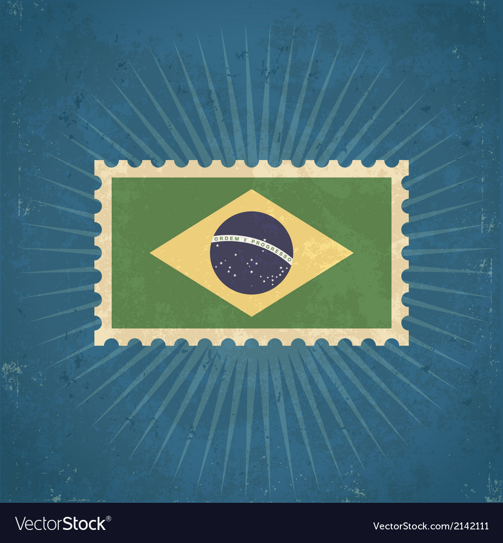 Retro brazil flag postage stamp vector | Price: 1 Credit (USD $1)