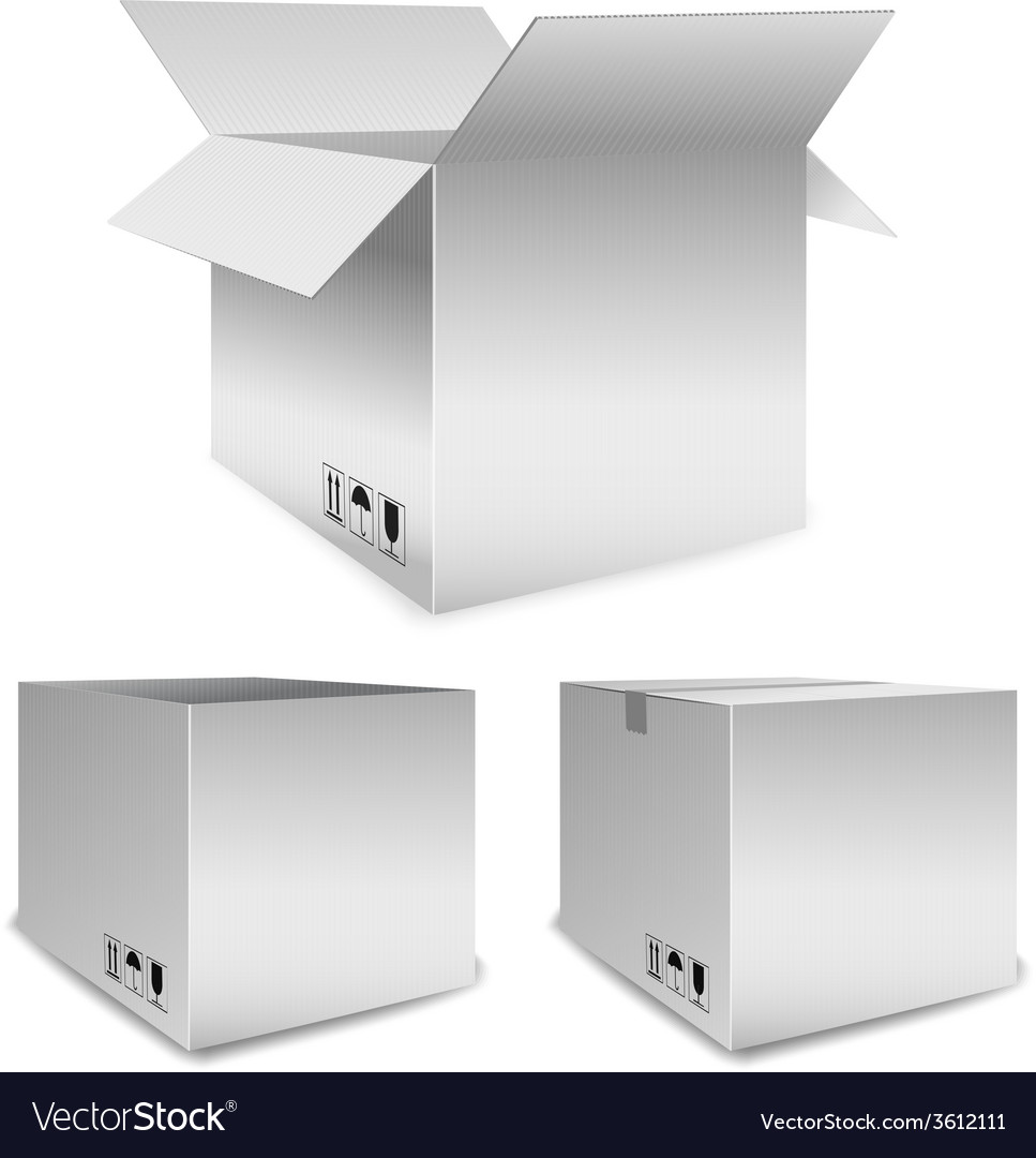Set of packing boxes open and closed vector | Price: 1 Credit (USD $1)