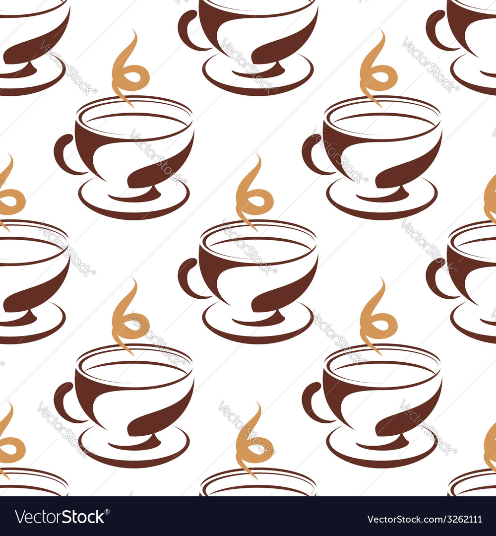 Steaming cup of coffee seamless pattern vector | Price: 1 Credit (USD $1)
