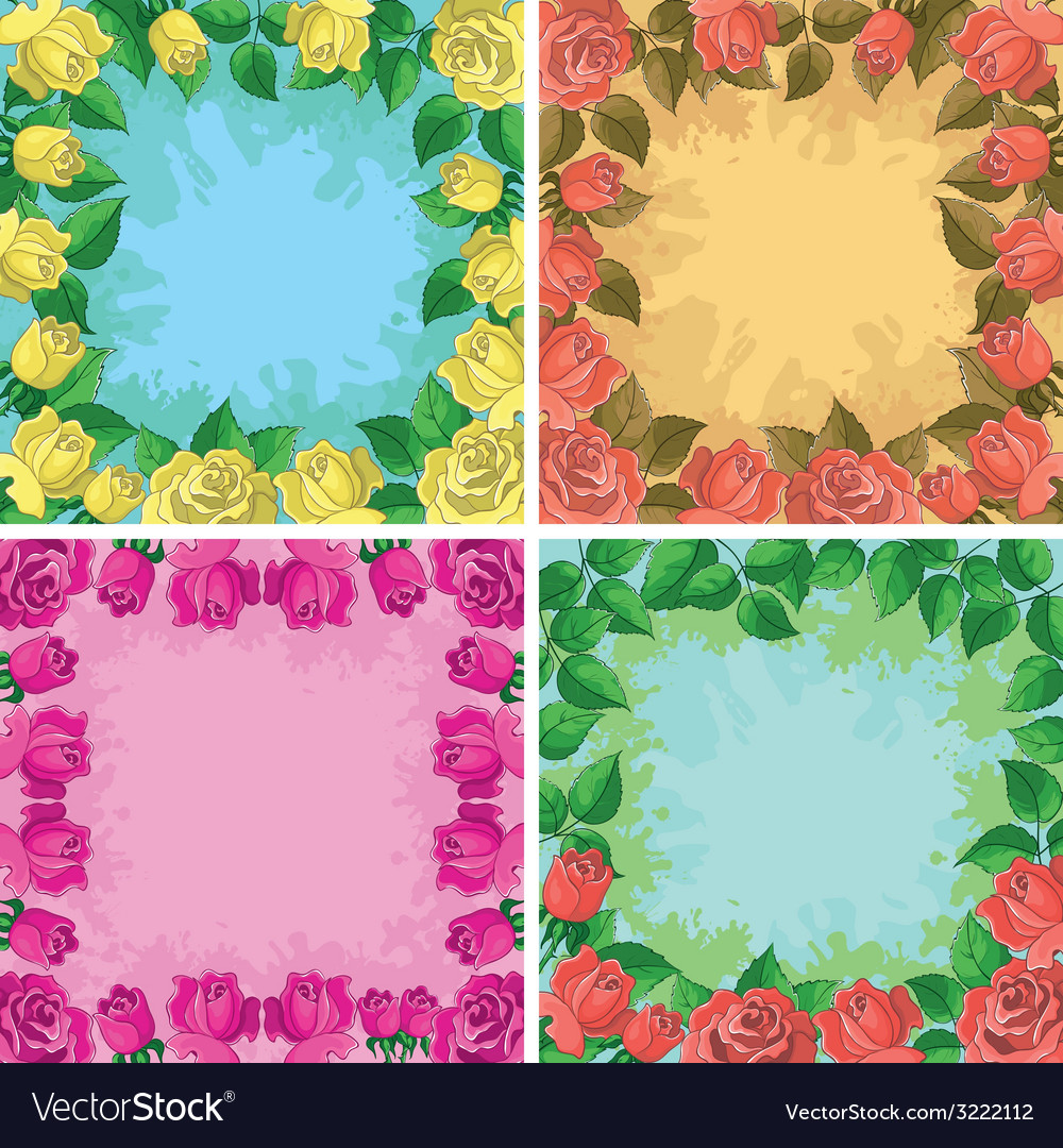 Backgrounds frames from flowers vector | Price: 1 Credit (USD $1)