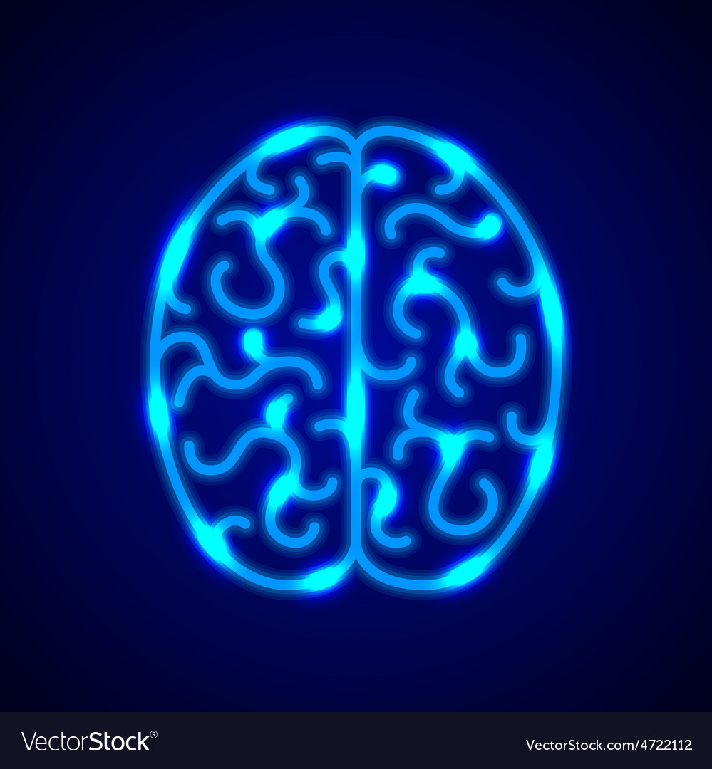 Brain from blue neon lines background vector   Price: 1 Credit (USD $1)