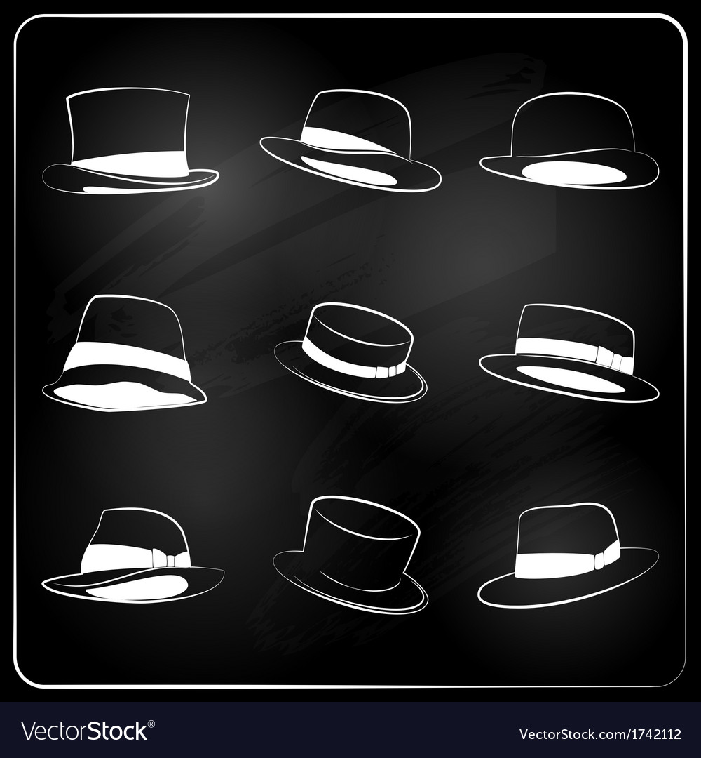 Chalkboard hipster hat collection vector | Price: 1 Credit (USD $1)