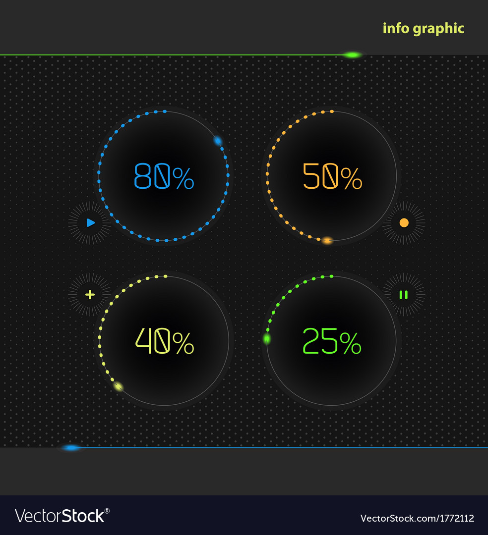 Circles with percentage for business presentations vector | Price: 1 Credit (USD $1)