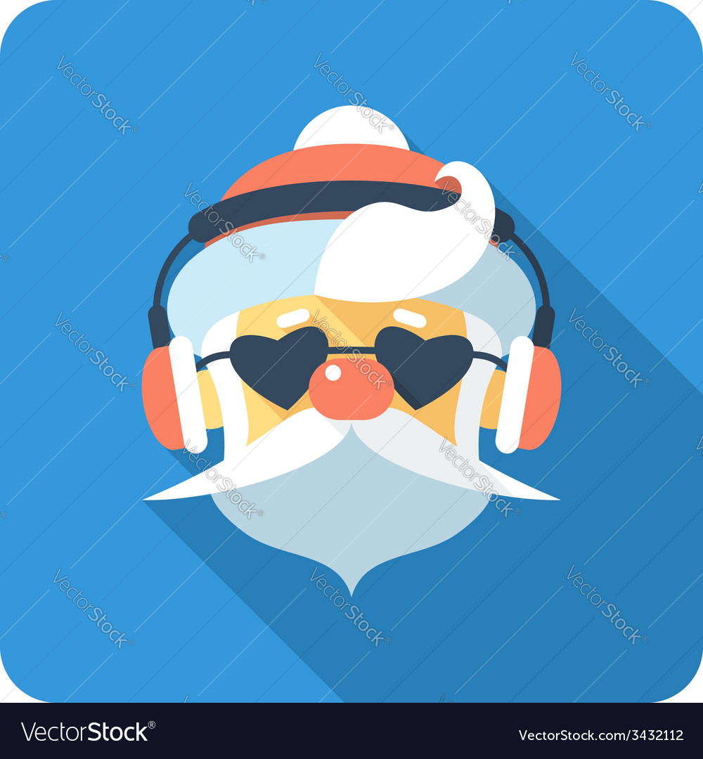 Hipster santa claus face icon flat design vector | Price: 1 Credit (USD $1)