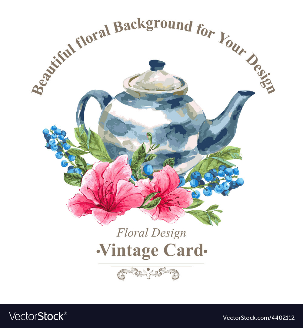 Invitation vintage card with blueberries pink vector | Price: 1 Credit (USD $1)