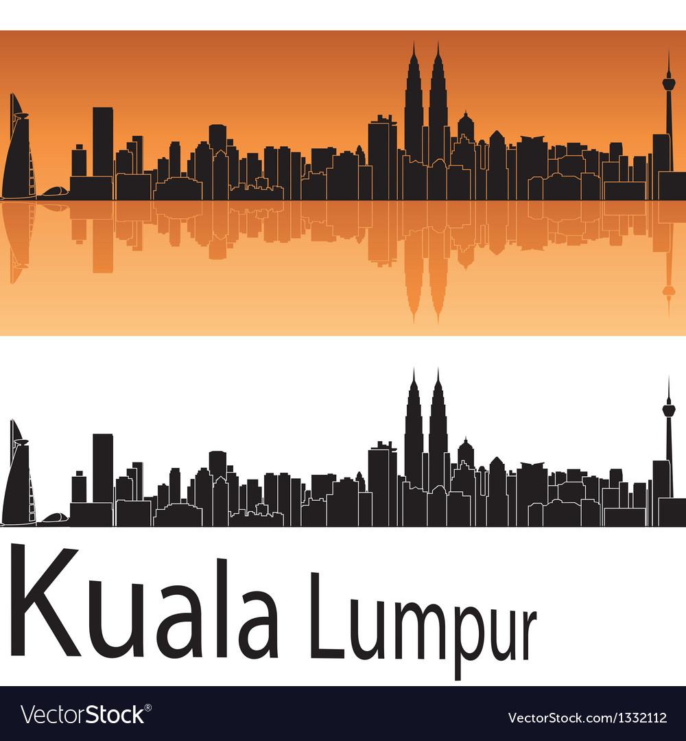 Kuala lumpur skyline in orange background vector | Price: 1 Credit (USD $1)