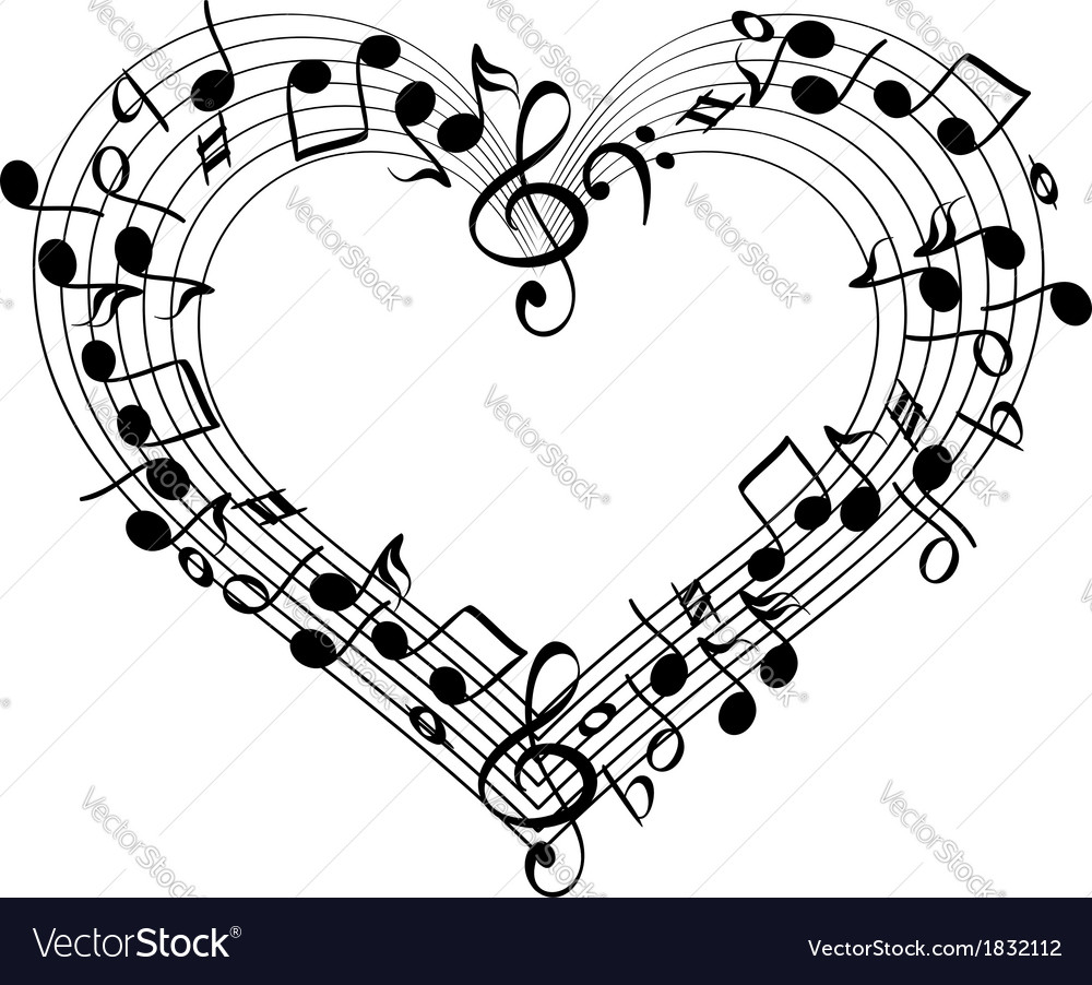 Music from heart sketch cartoon vector | Price: 1 Credit (USD $1)