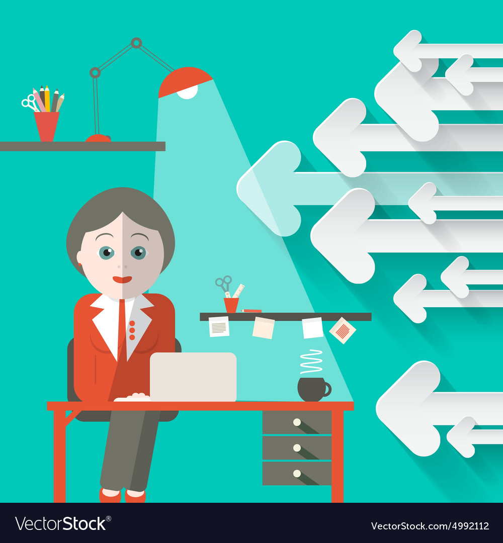 Secretary in office with arrows retro background vector