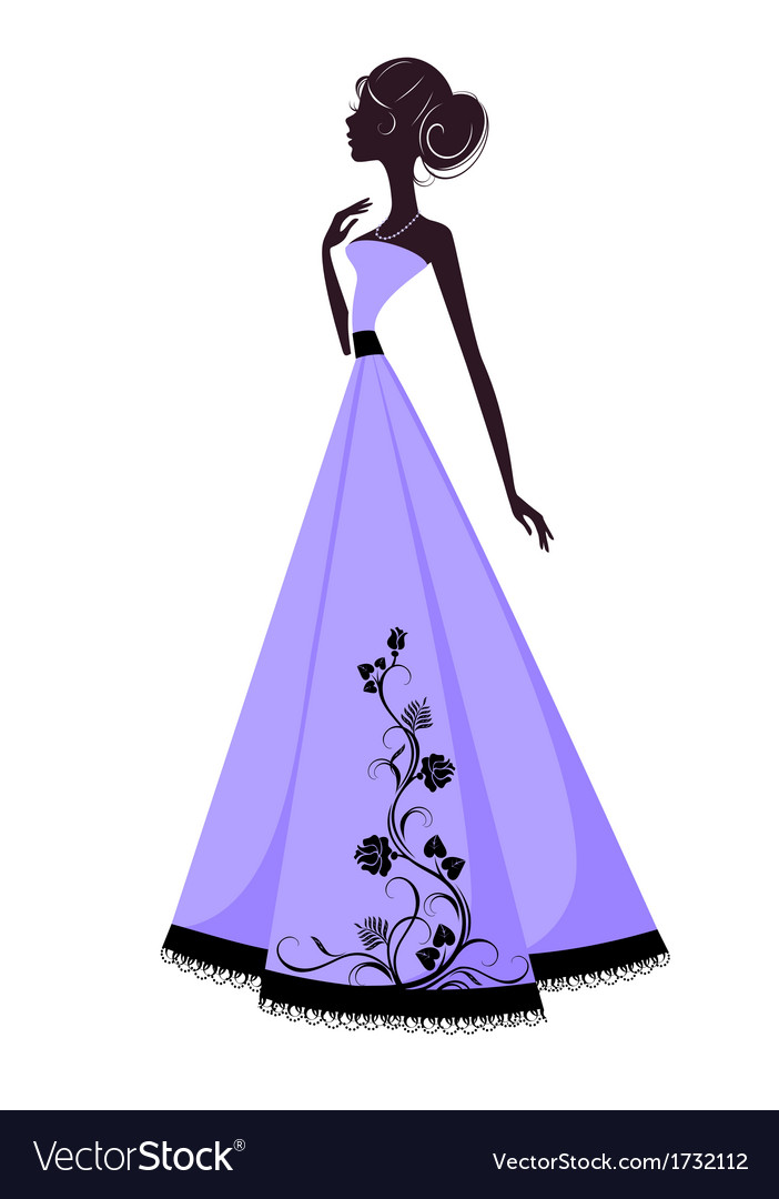 Silhouette of a beautiful girl in evening dress vector | Price: 1 Credit (USD $1)