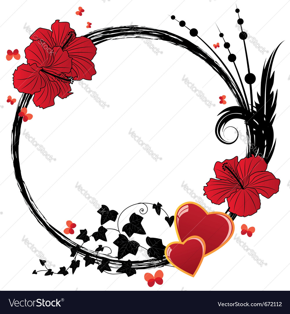 Valentine floral frame vector | Price: 1 Credit (USD $1)