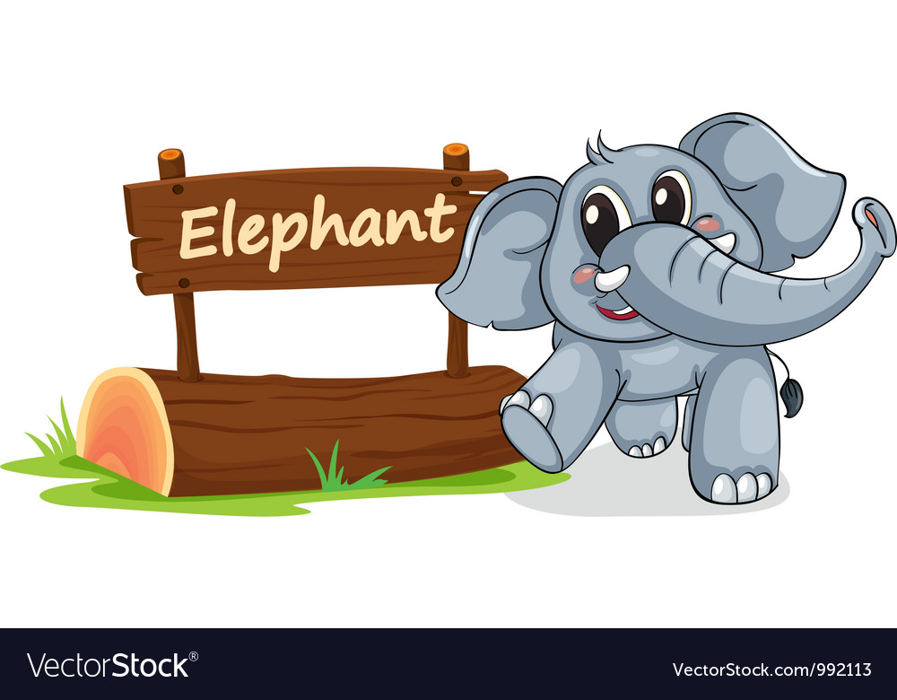 Cartoon zoo elephant sign vector | Price: 1 Credit (USD $1)