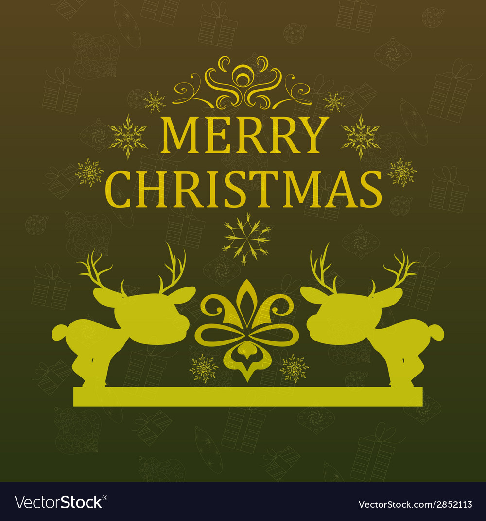 Christmas card with deer vector | Price: 1 Credit (USD $1)