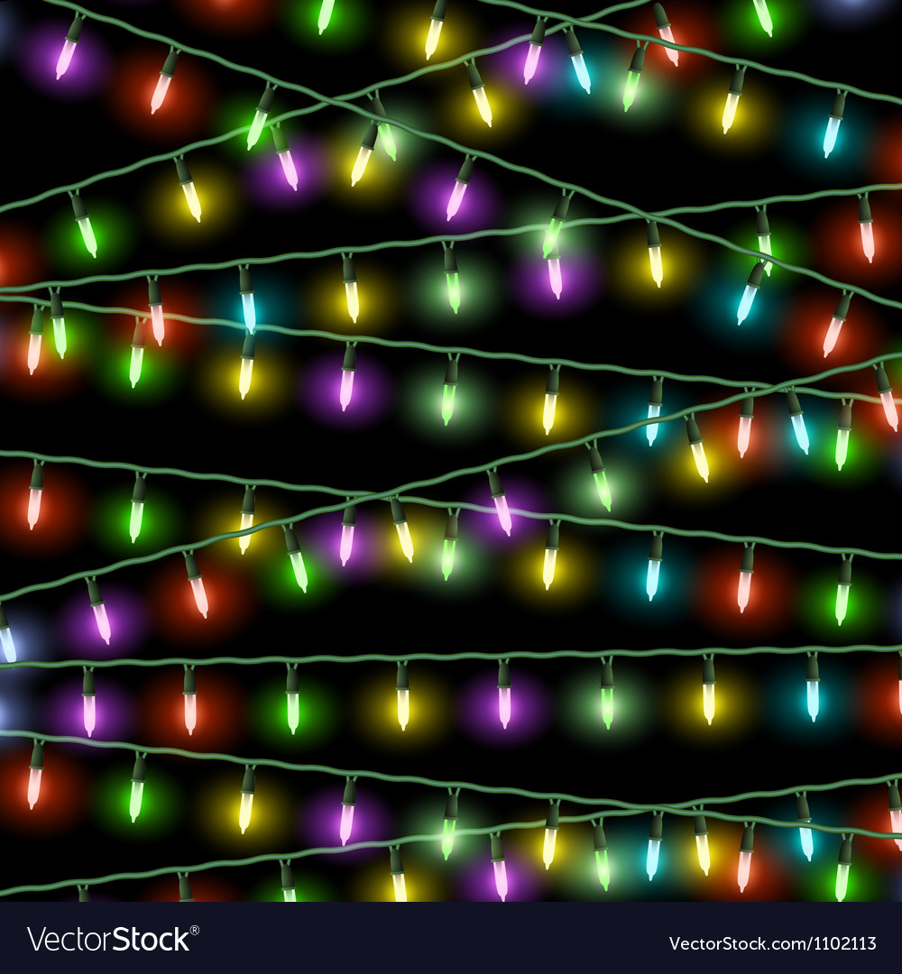 Christmas lights on black background vector | Price: 1 Credit (USD $1)