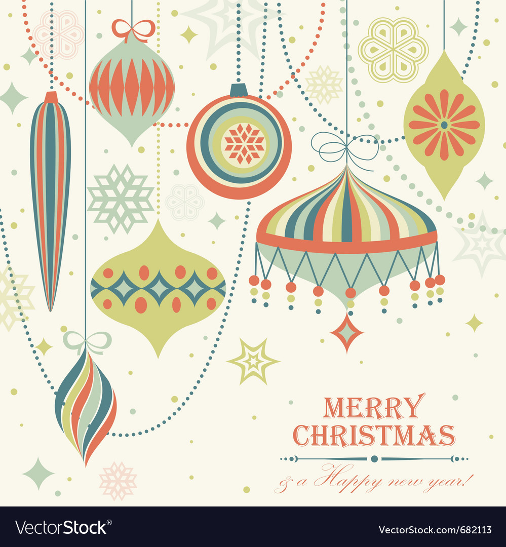 Christmas vintage card vector | Price: 1 Credit (USD $1)