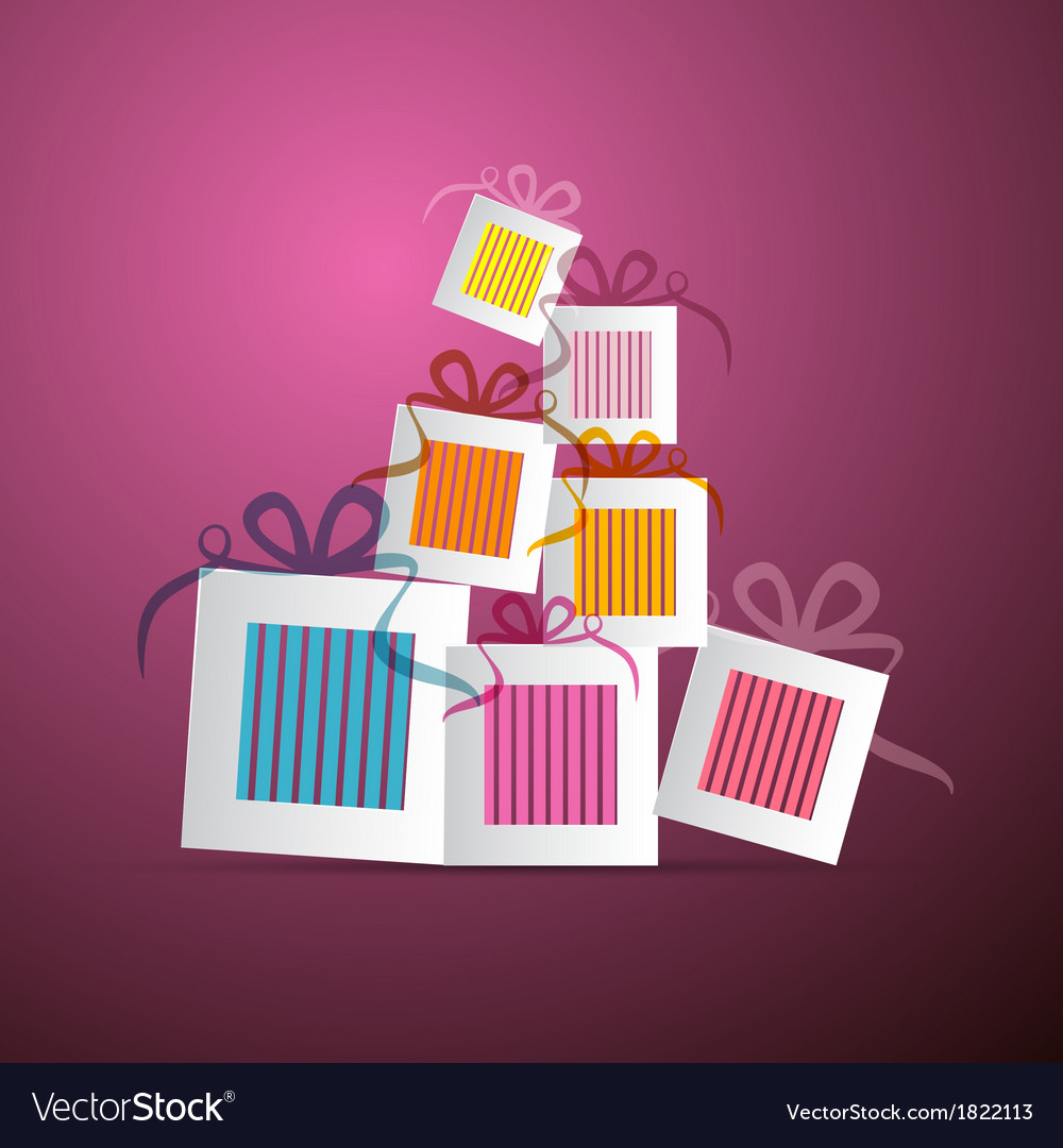 Colorful abstract paper gift boxes on violet vector | Price: 1 Credit (USD $1)