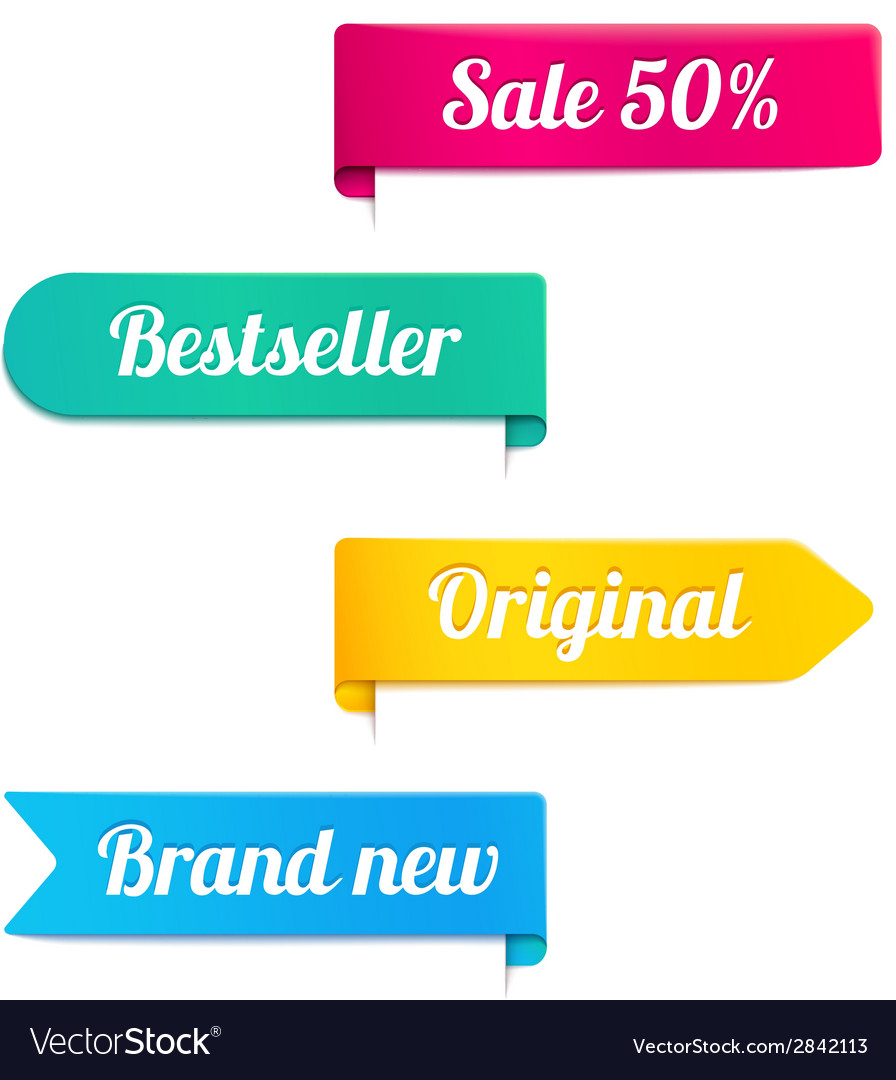 Four ribbons or banners for a retail store vector | Price: 1 Credit (USD $1)