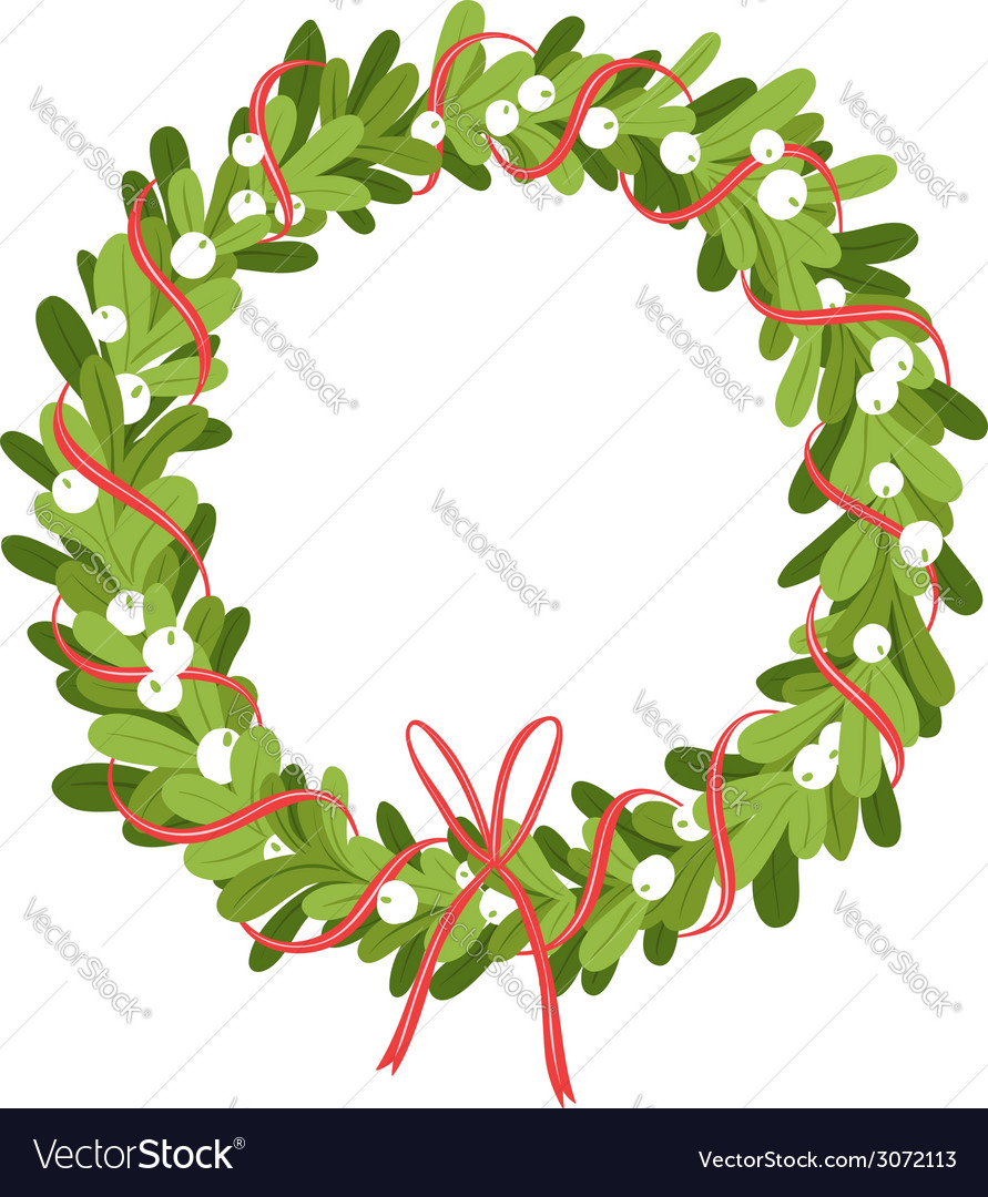 Mistletoe wreath isolated on white vector | Price: 1 Credit (USD $1)