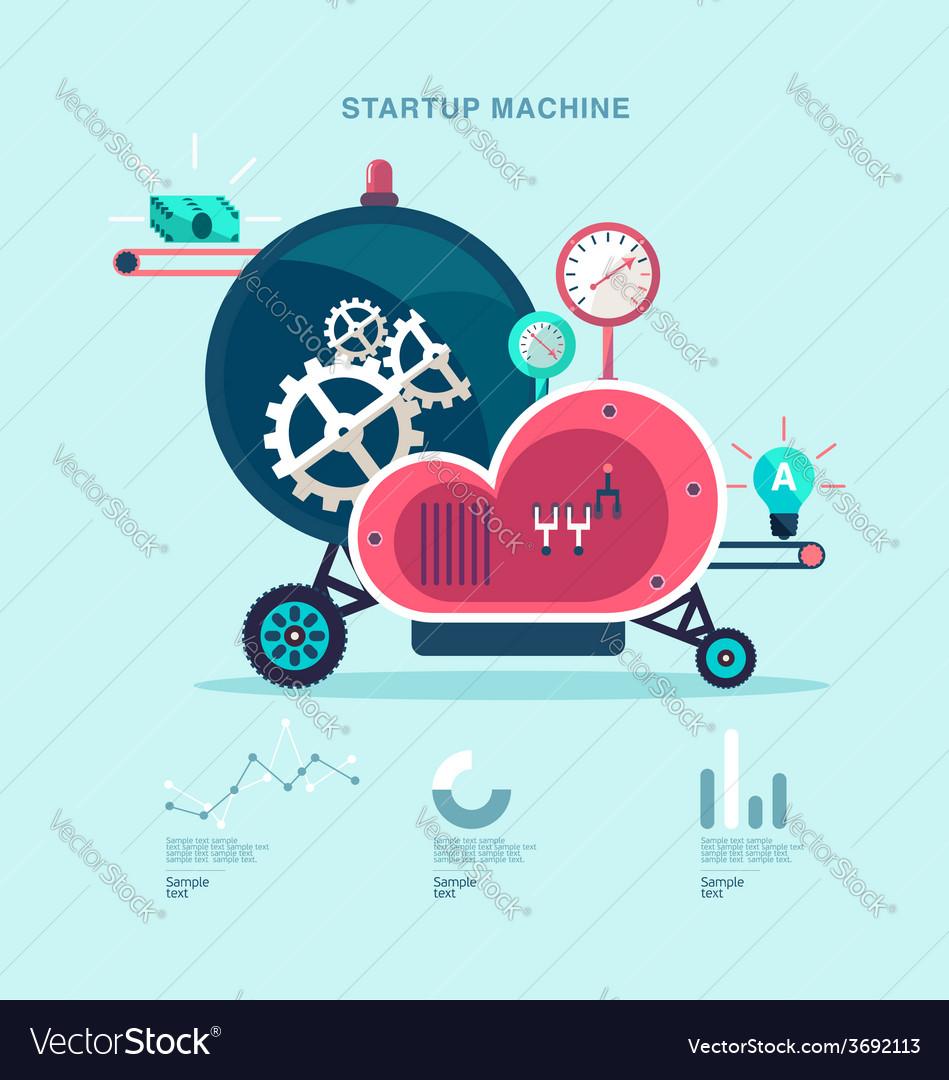 Startup machine vector | Price: 1 Credit (USD $1)